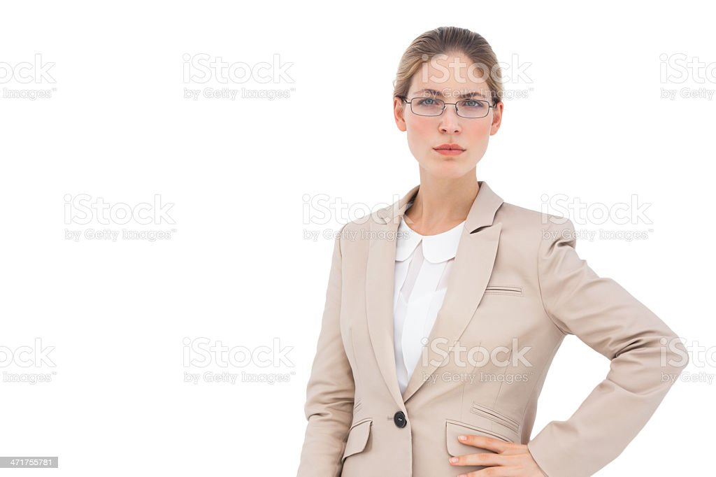 Businesswoman with glasses looking at the camera royalty-free stock photo