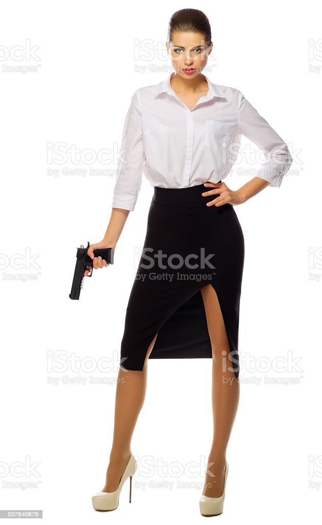 Businesswoman with gun isolated stock photo