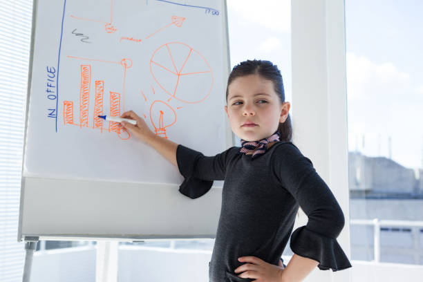businesswoman with hand on hip writing on whiteboard - 8 infographic stock photos and pictures