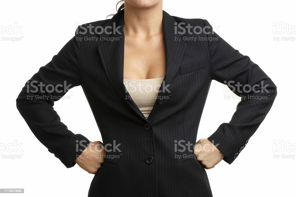 Businesswoman with hands on hips Isolated White royalty-free stock photo