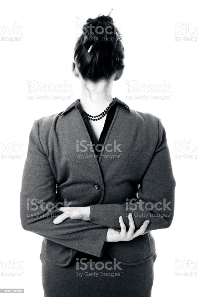 Businesswoman with Head Facing Backwards royalty-free stock photo
