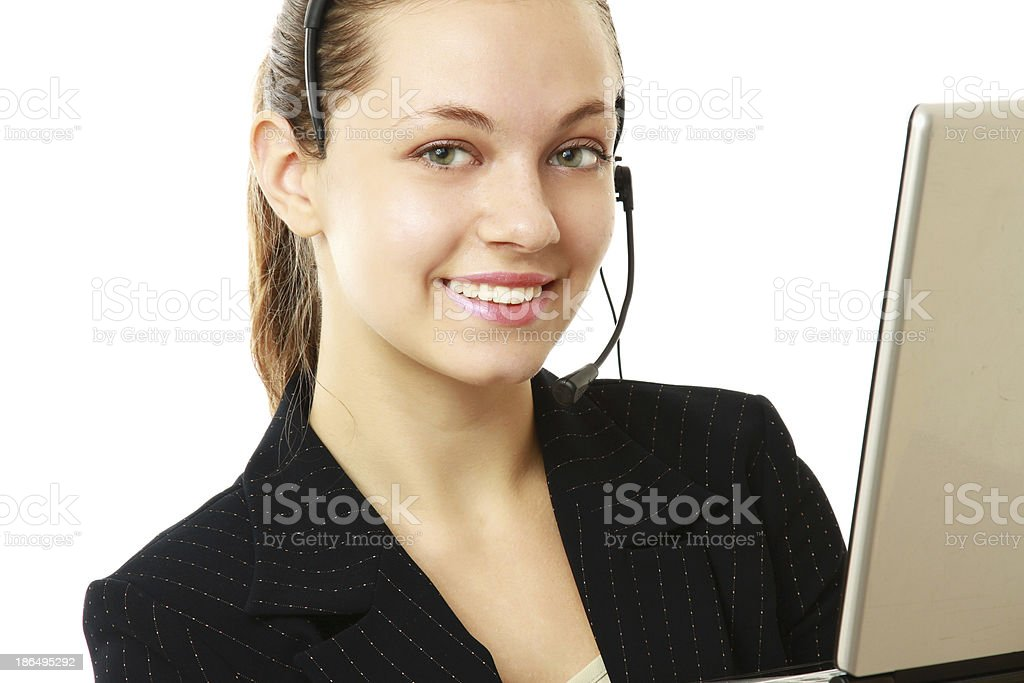 businesswoman with headset and laptop. royalty-free stock photo