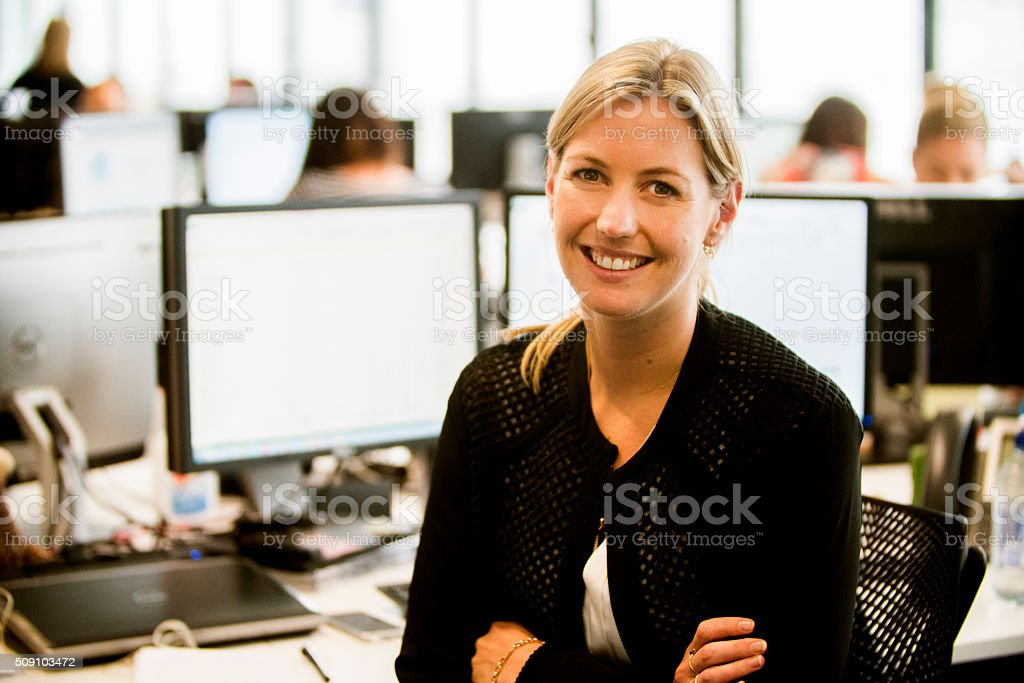 Businesswoman with headset. stock photo