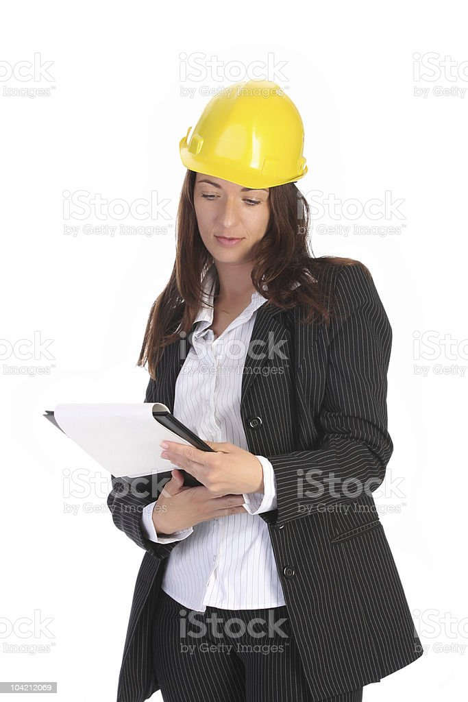 businesswoman with helmet royalty-free stock photo