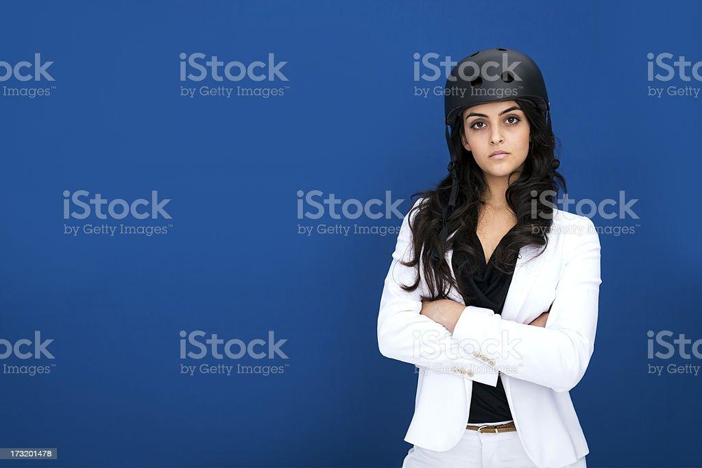 Businesswoman with helmet stock photo