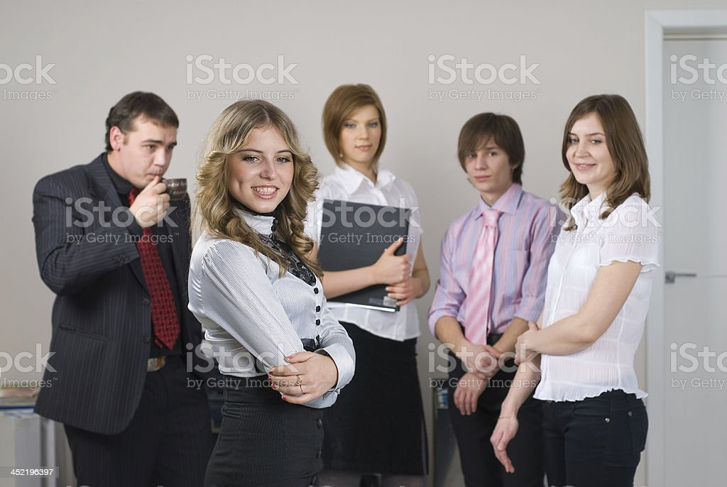 Businesswoman with her team royalty-free stock photo