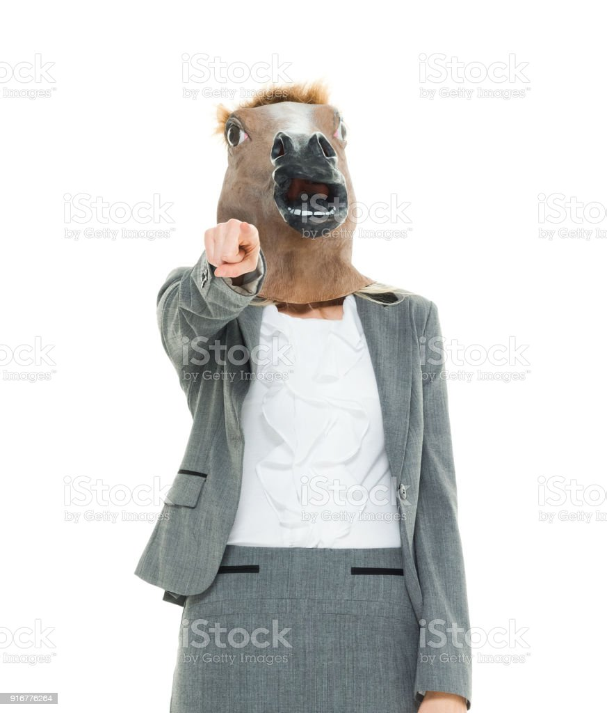 Businesswoman With Horse Head Mask Stock Photo Download Image Now Istock