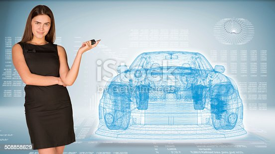 istock Businesswoman with key and wire frame car 508858629
