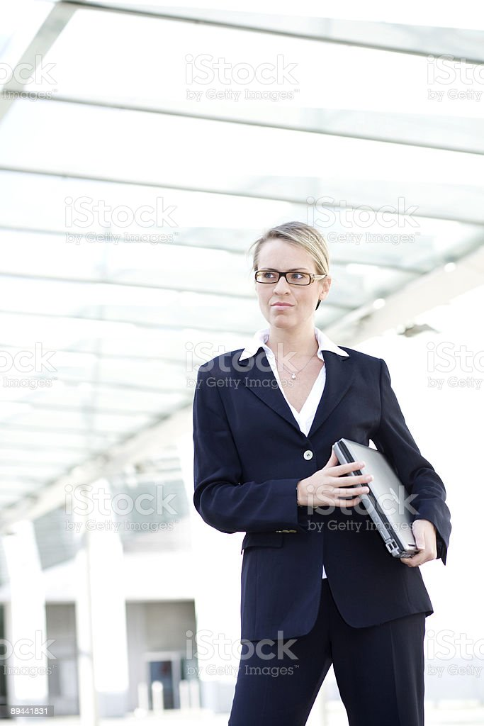 Businesswoman with laptop computer royalty-free stock photo