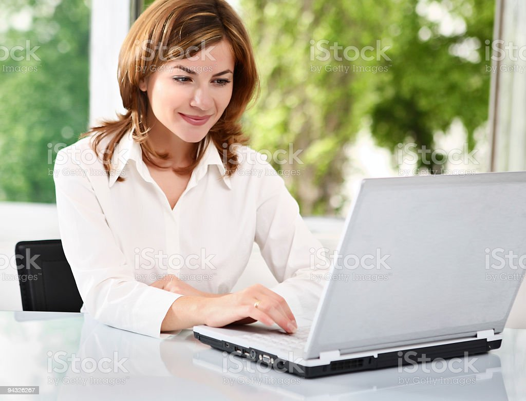 Businesswoman with laptop. royalty-free stock photo