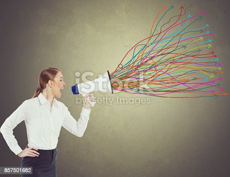 istock Businesswoman with megaphone 857501682