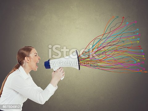 istock Businesswoman with megaphone 857504912