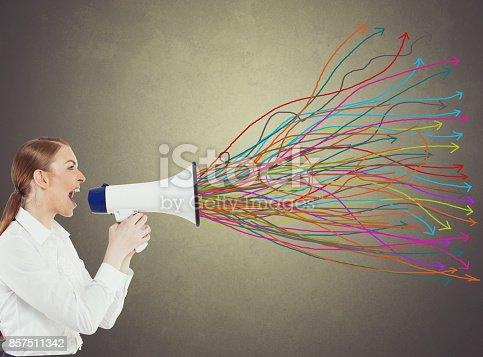 istock Businesswoman with megaphone 857511342