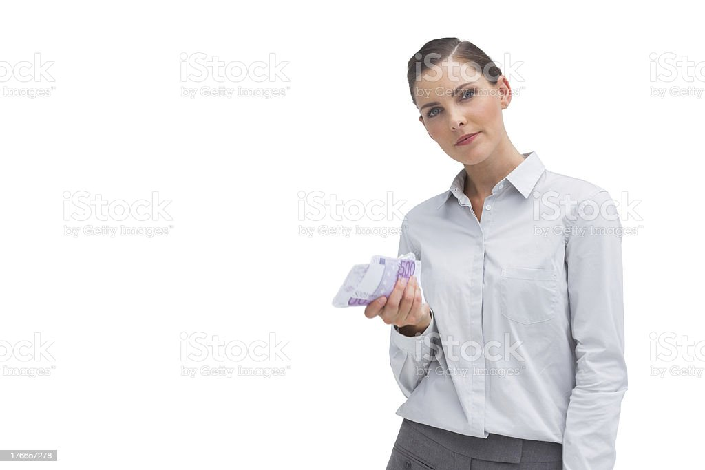 Businesswoman with money in her hand royalty-free stock photo