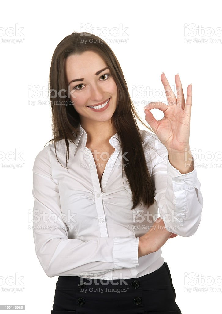 businesswoman with okay sign stock photo