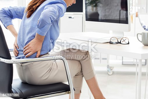 istock Businesswoman with pain in back 842597094