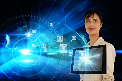 istock Businesswoman with profile icons and tablet 810808312