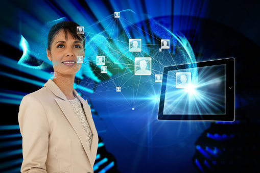 istock Businesswoman with profile icons and tablet 810808408