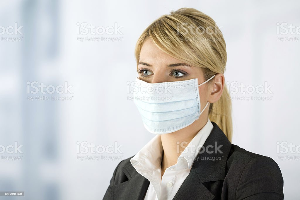 businesswoman with protective mask royalty-free stock photo