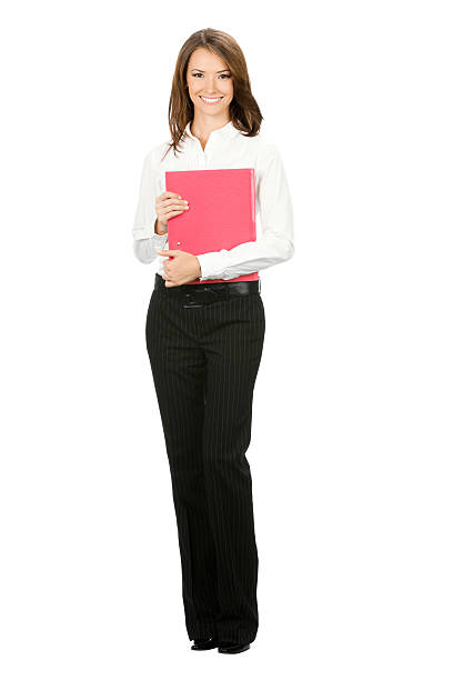 Businesswoman with red folder, isolated stock photo
