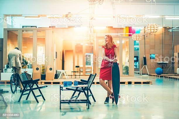 Businesswoman with skateboard in office lobby picture id531334480?b=1&k=6&m=531334480&s=612x612&h=fabkfhkhnhuwgwaccwrniufqs4uxtrqxvsmbrc3qcza=