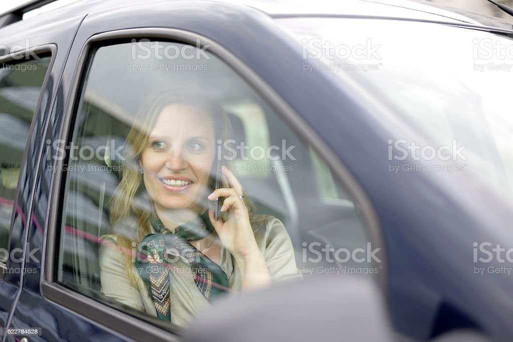 businesswoman with smartphone stock photo