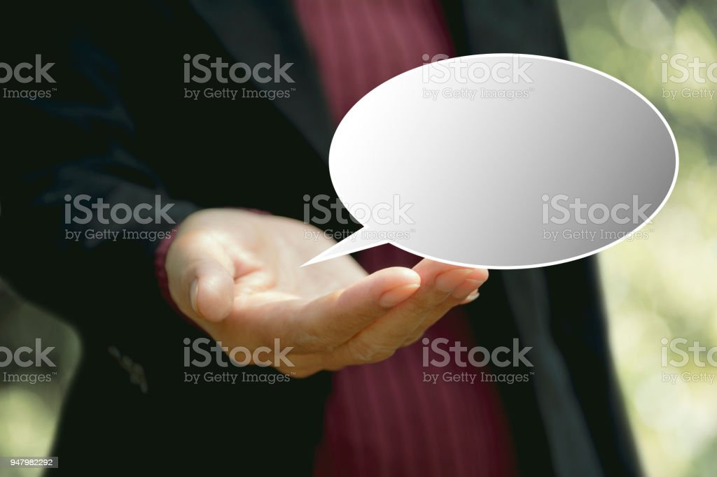 Businesswoman With Stickers Of Speech Bubbles Blank Empty