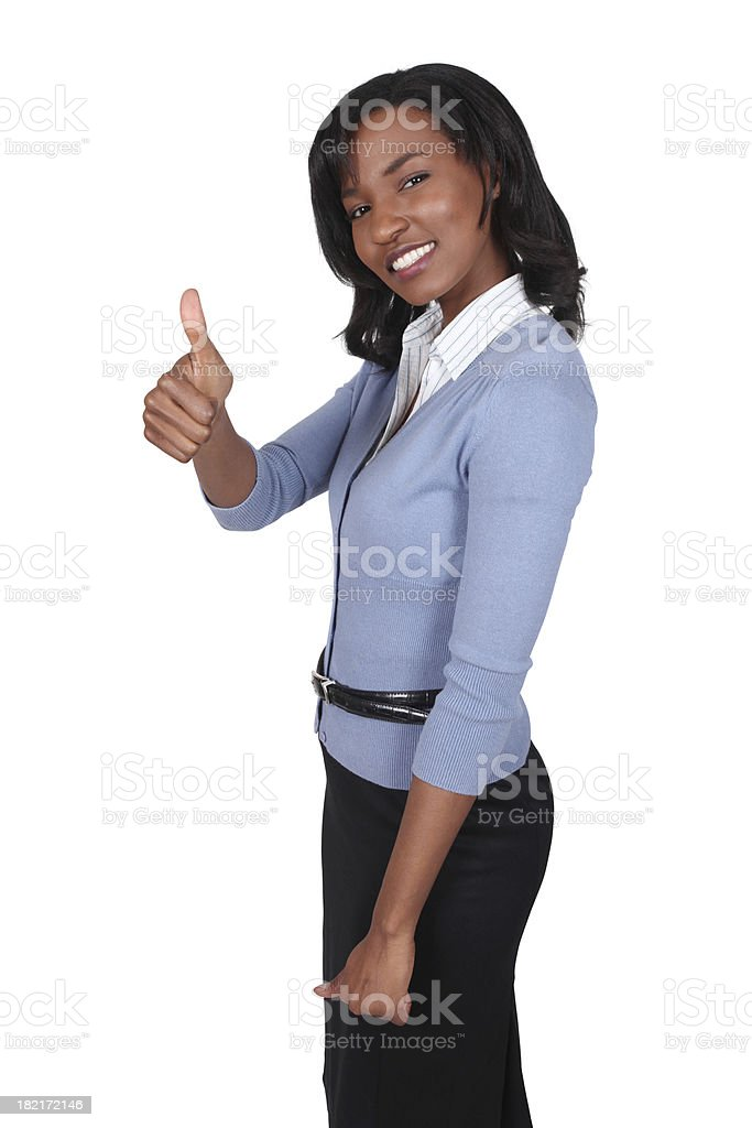 Businesswoman with thumbs up royalty-free stock photo