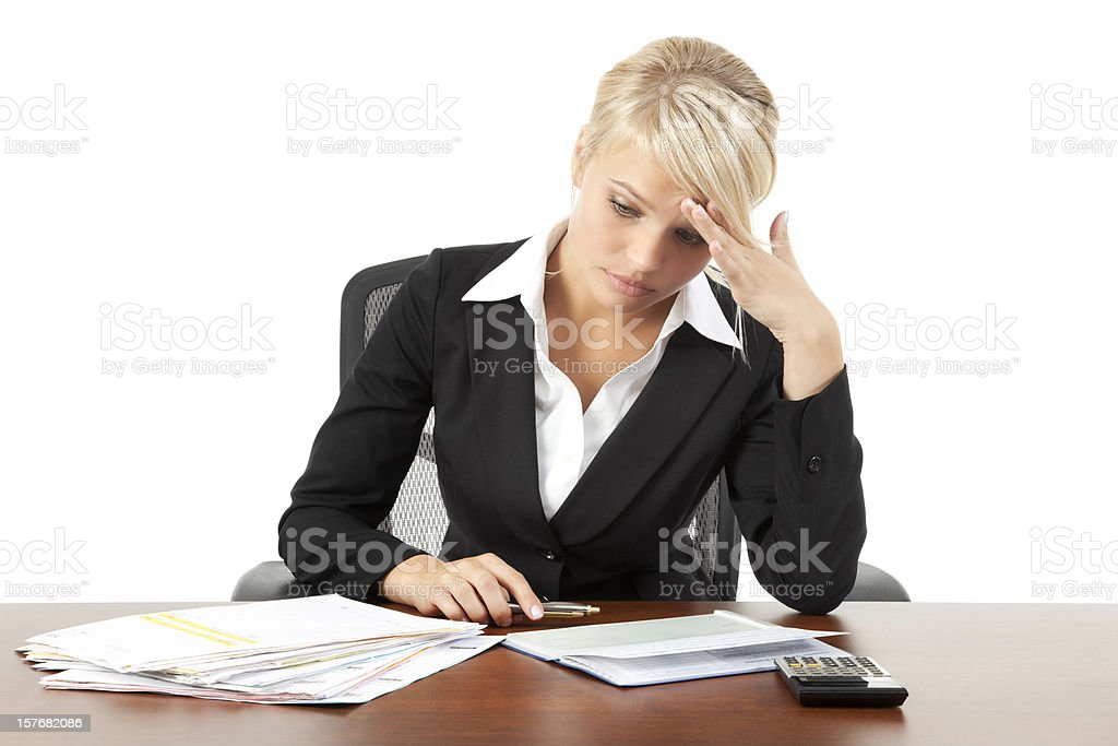 Businesswoman with Too Many Bills royalty-free stock photo
