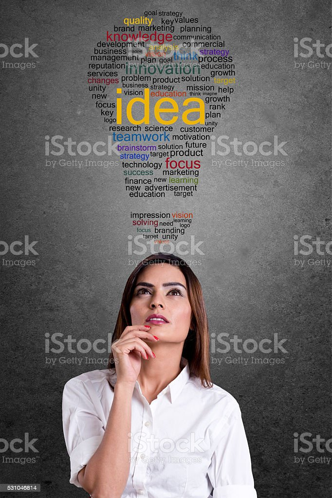 Businesswoman with word cloud in light bulb shape stock photo