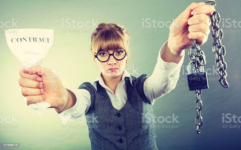 Businesswoman woman ending breaking contract. stock photo