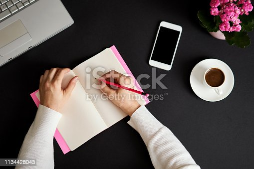 831932306 istock photo Businesswoman working at office and she is writing to blank notebook. 1134428043