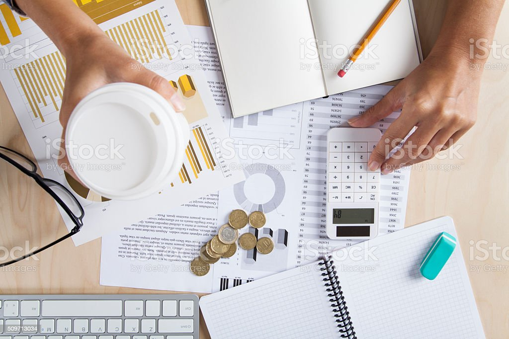 Businesswoman Working At Office stock photo