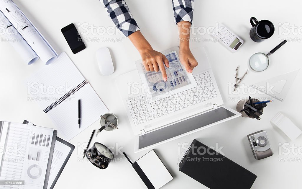 Businesswoman Working At Tablet pc stock photo