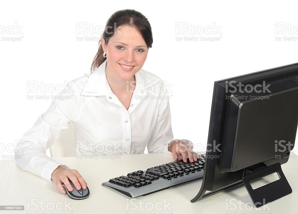 Businesswoman Working at the Computer royalty-free stock photo