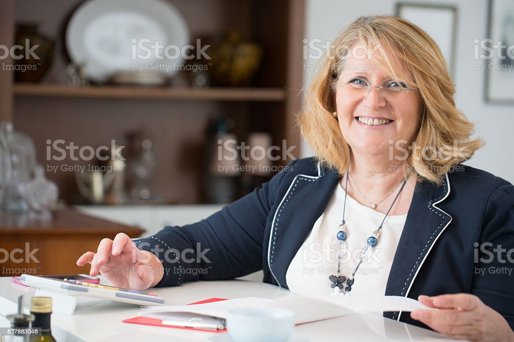 Businesswoman working from Home stock photo