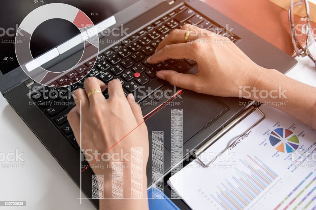 Businesswoman working from home via portable computer, hipster girl freelancer writing on keyboard, flare light stock photo