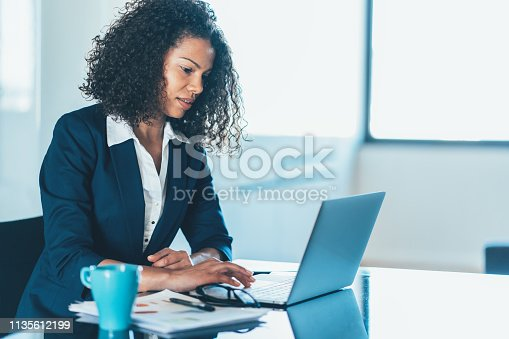 Portrait of a young African ethnicity businesswoman working on laptop in office