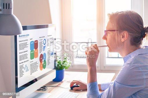850852928 istock photo Businesswoman working on Business Plan, computer screen, startup found raising 950652712