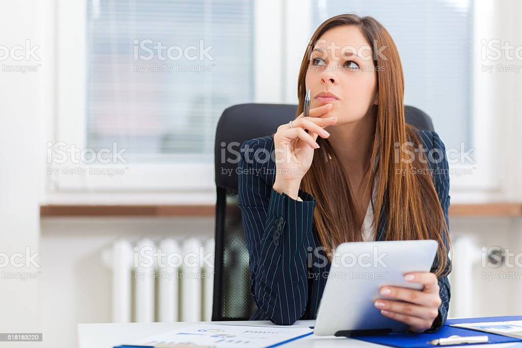 Businesswoman Working On Digital Tablet - Royalty-free Adult Stock Photo