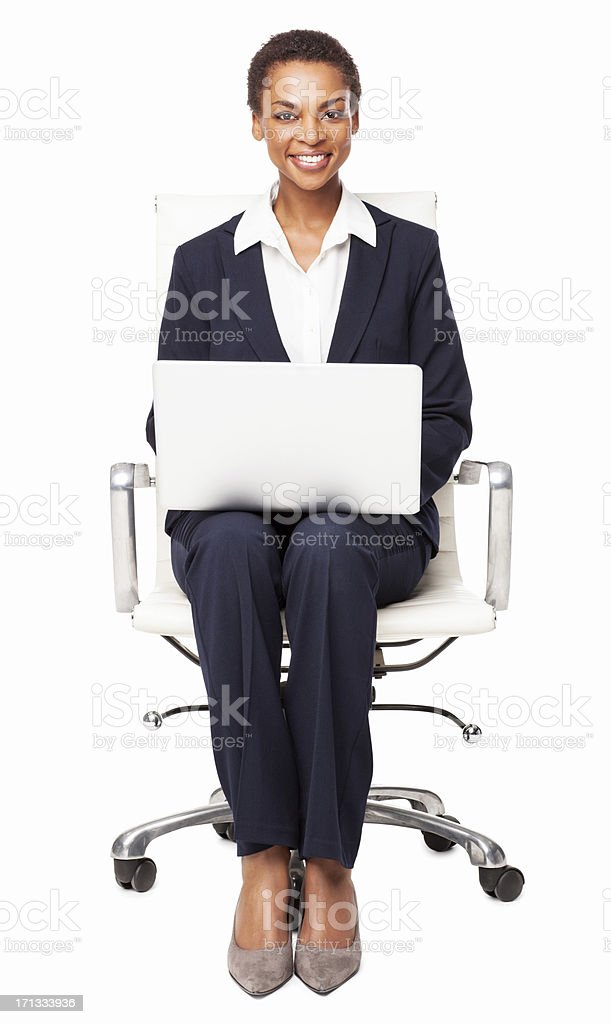Businesswoman Working On Laptop - Isolated royalty-free stock photo