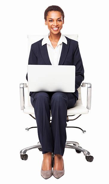 Geschäftsfrau Working On Laptop-isoliert – Foto