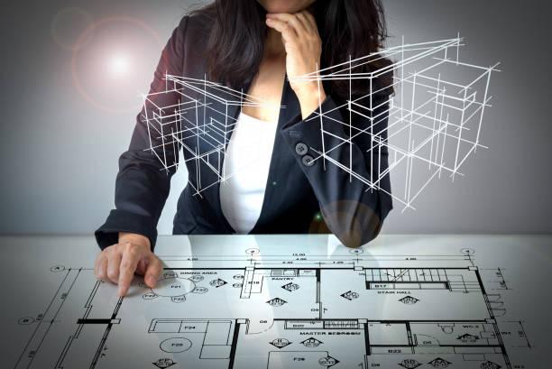 Businesswoman (Architect / Interior designer) working on modern futuristic virtual table – zdjęcie