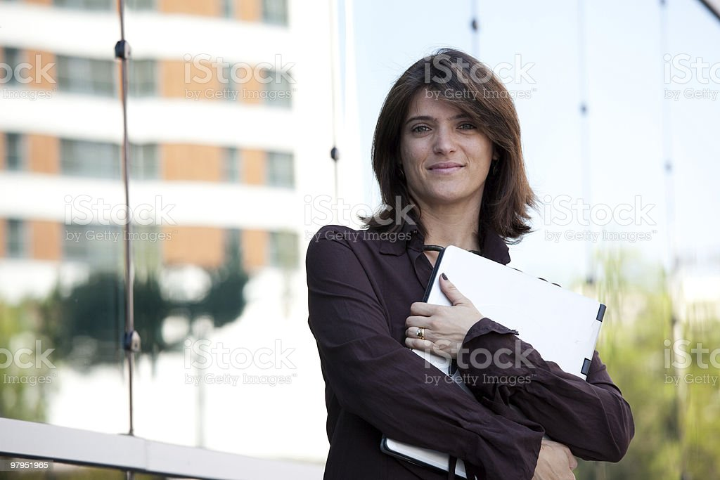 Businesswoman working outdoor royalty-free stock photo