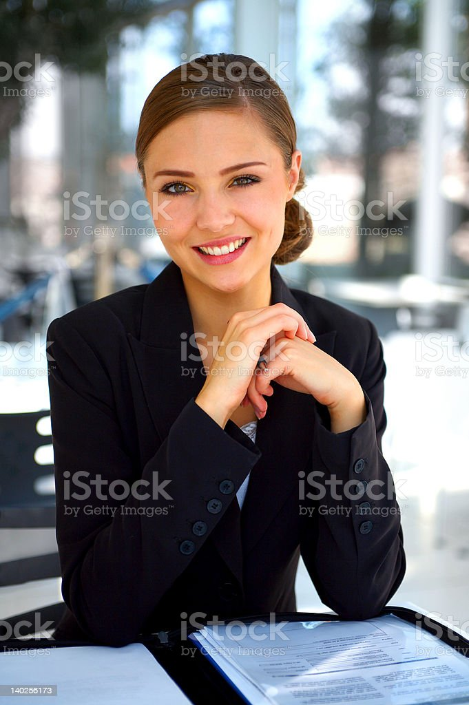Businesswoman working while traveling royalty-free stock photo
