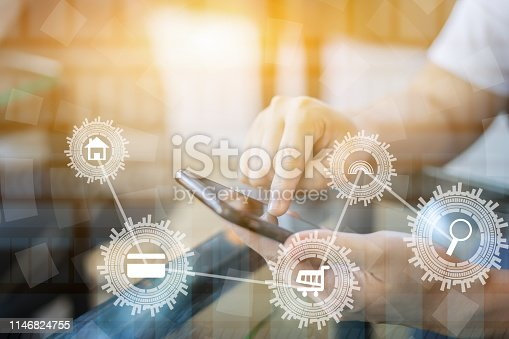 businesswoman working with modern devices, student girl using digital tablet computer and mobile smart phone with internet technology icon,business technology  concept,selective focus,vintage color