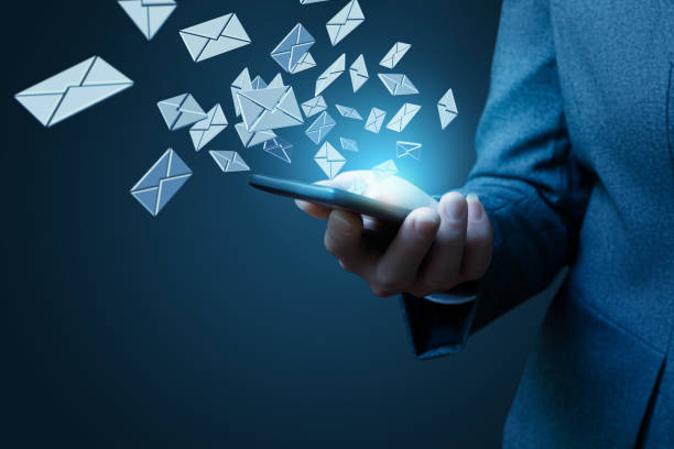 businesswoman works with emails. - e mail stock pictures, royalty-free photos & images