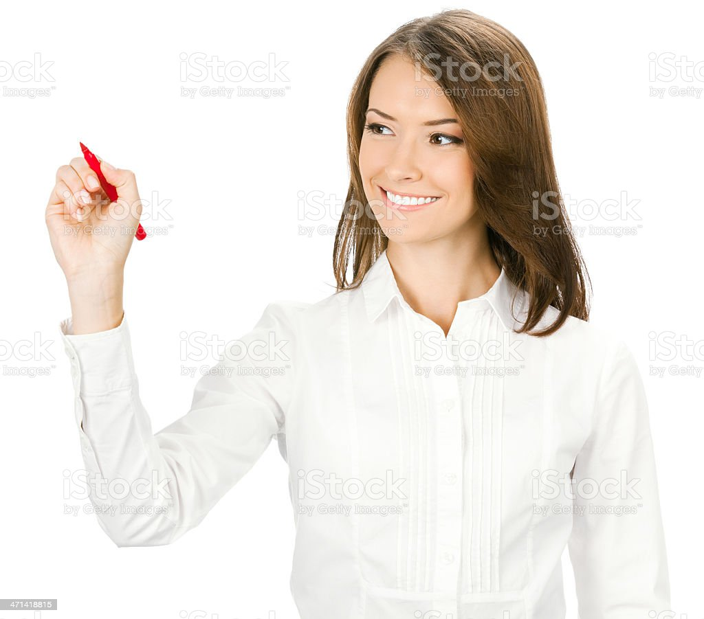 Businesswoman writing in the air royalty-free stock photo