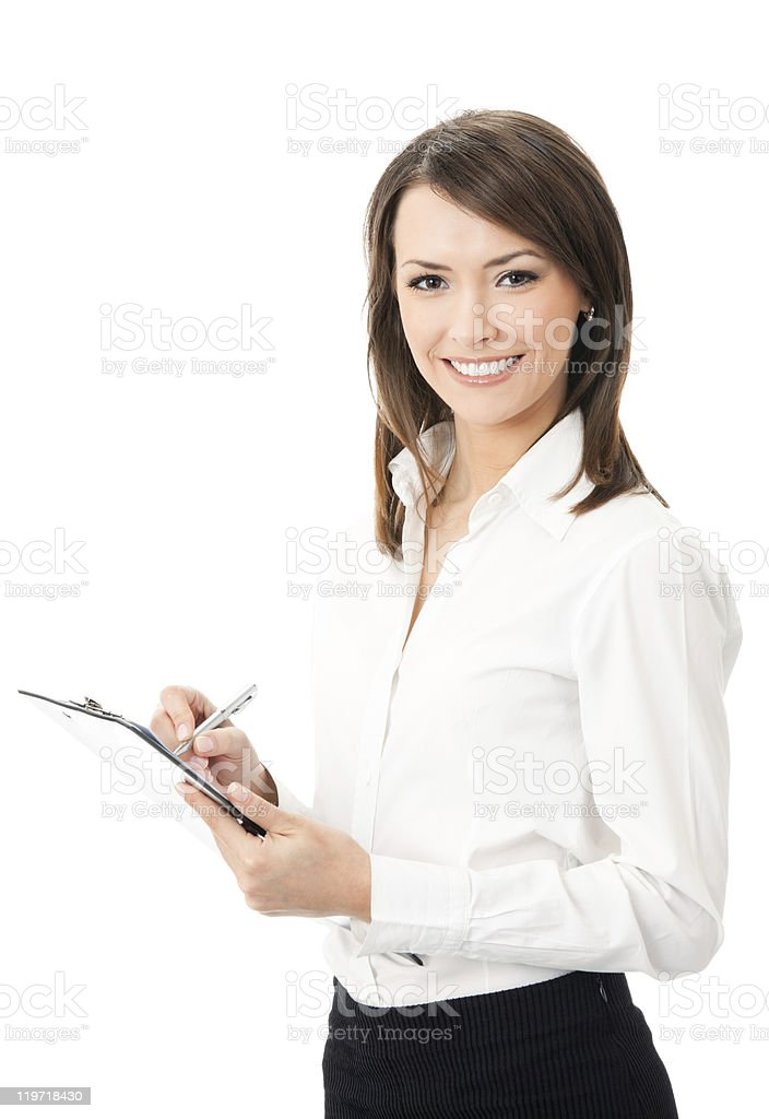 Businesswoman writing on clipboard, isolated stock photo
