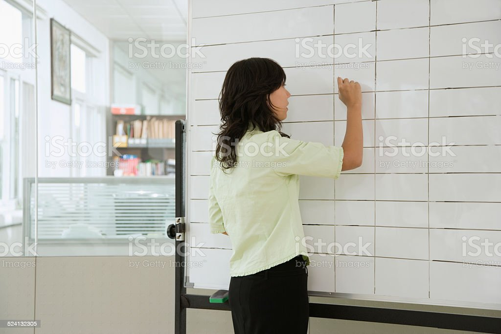 Businesswoman writing on flip chart, rear view stock photo